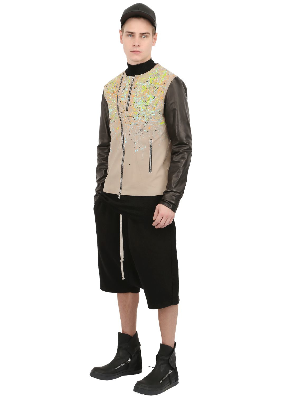 Black dioniso Splatter Painted Leather Moto Jacket in ...