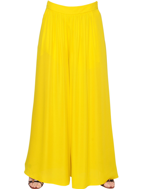 Etro Silk Crepe Palazzo Pants in Yellow