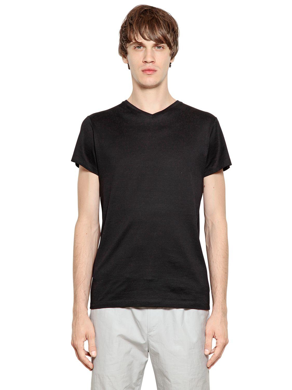 Jil sander mercerized cotton t shirt in black for men lyst for Jil sander mens shirt