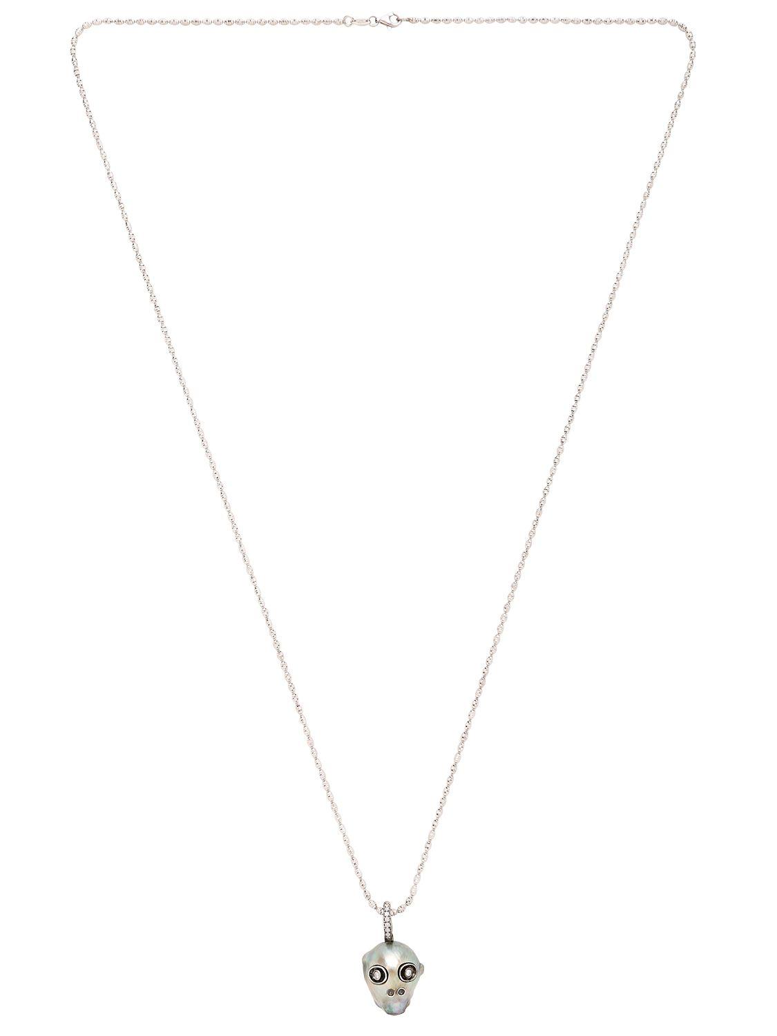 Samira 13 Tahitian Pearl Skull Necklace in White (Metallic)