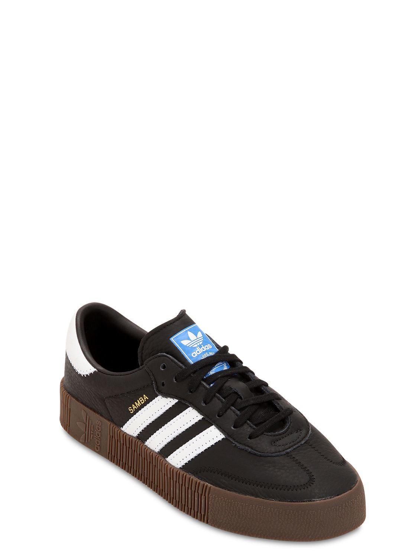 f19b3c0d1c4 Adidas Originals - Black Samba Rose Textured-leather Platform Sneakers -  Lyst. View fullscreen