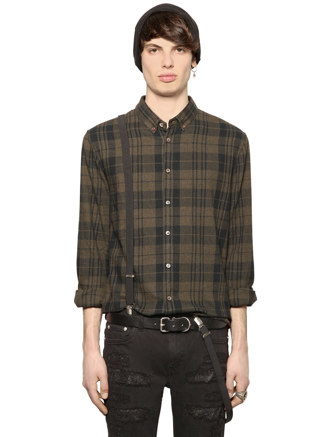 Lyst Blk Dnm Plaid Cotton Flannel Shirt In Green For Men