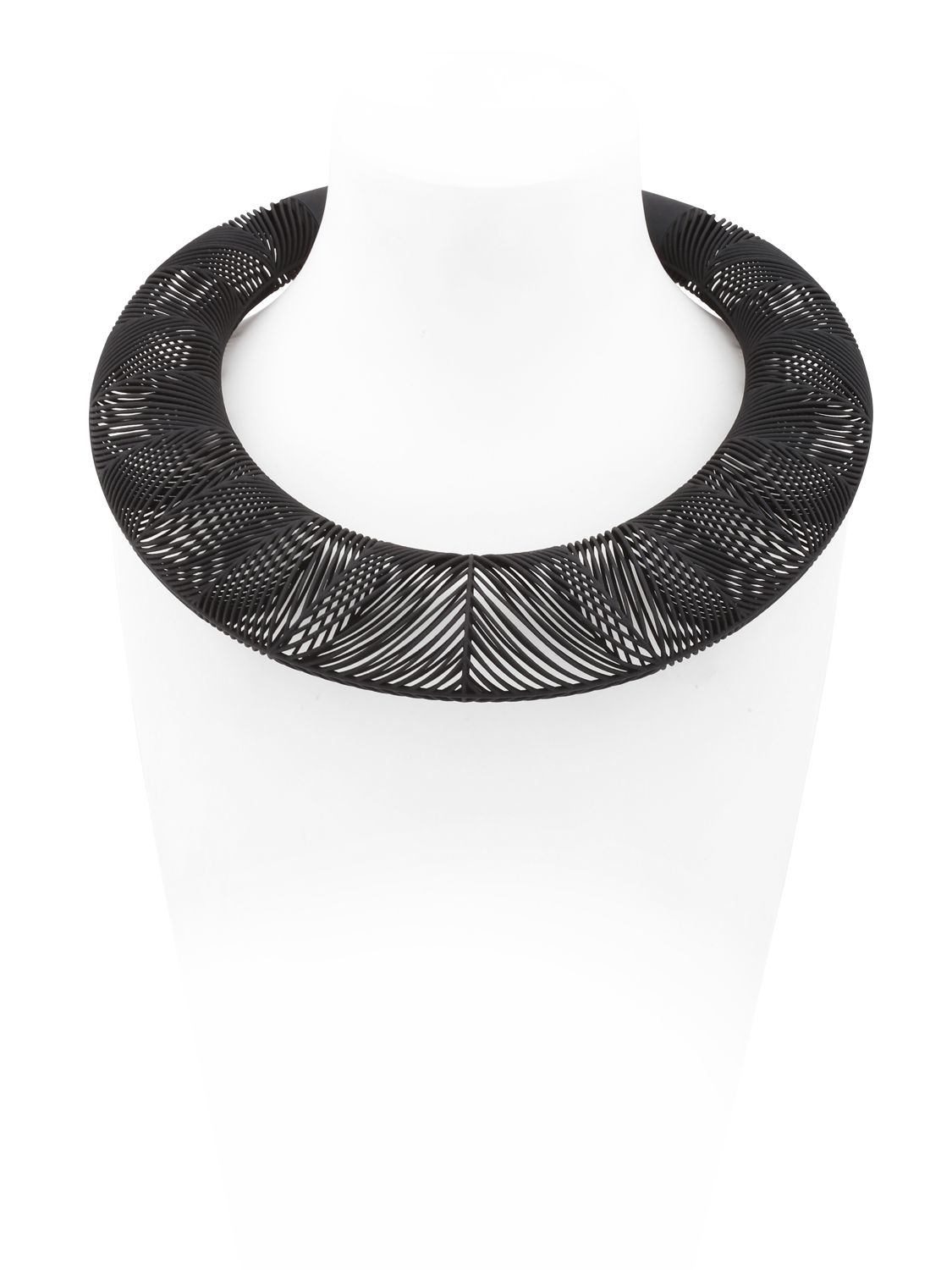 Vojd Studios Synthetic Chevron Giant Torque Necklace in Black