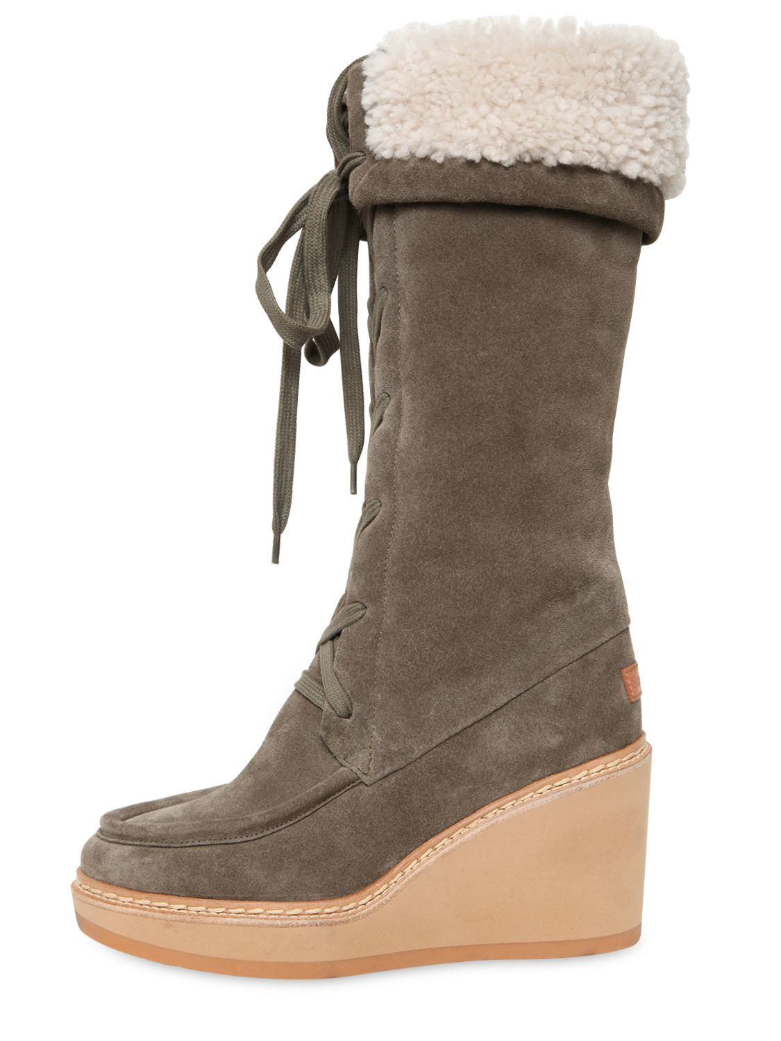 See By Chlo 233 80mm Suede Amp Shearling Wedge Boots In Brown
