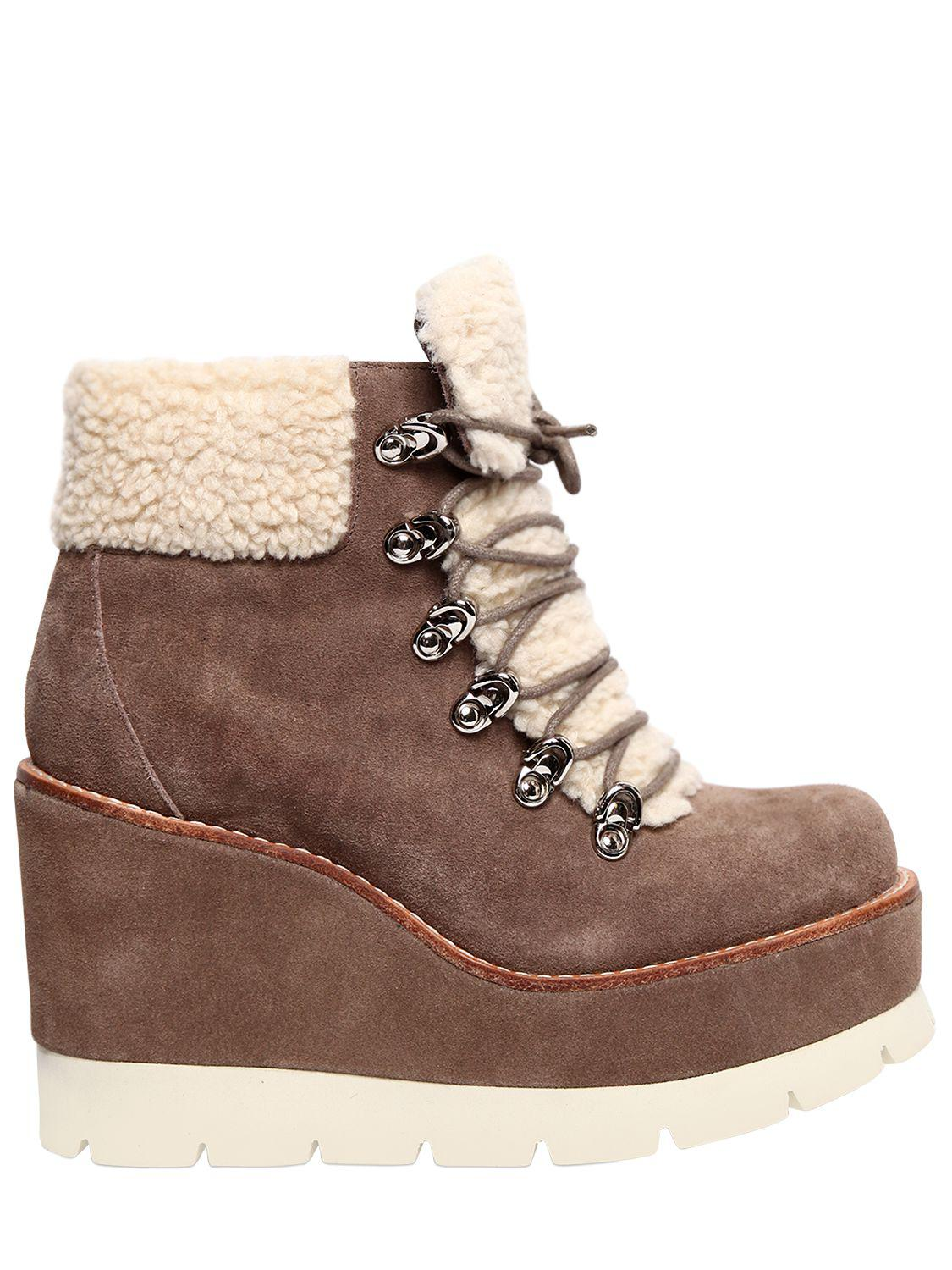Jeffrey Campbell 80MM FOWLER SUEDE & FAUX SHEARLING BOOTS FNW9G4
