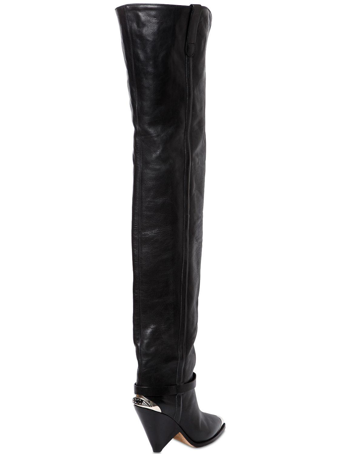 9a21266e4a9 Isabel Marant 90mm Lafsten Leather Over The Knee Boots in Black - Lyst