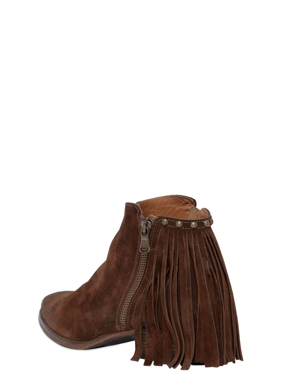 Strategia 50mm Zip-up Fringed Suede Ankle Boots in Brown