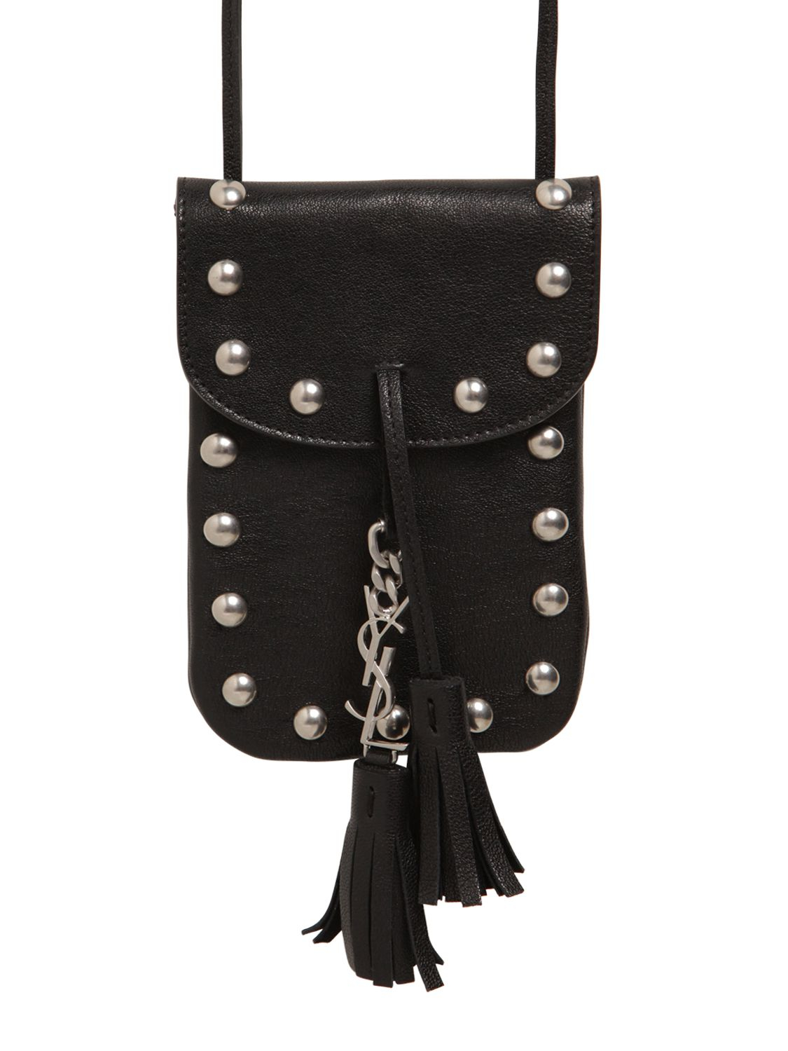 937042f52475 Lyst - Saint Laurent Anita Studded Leather Cross-Body Pouch in Black