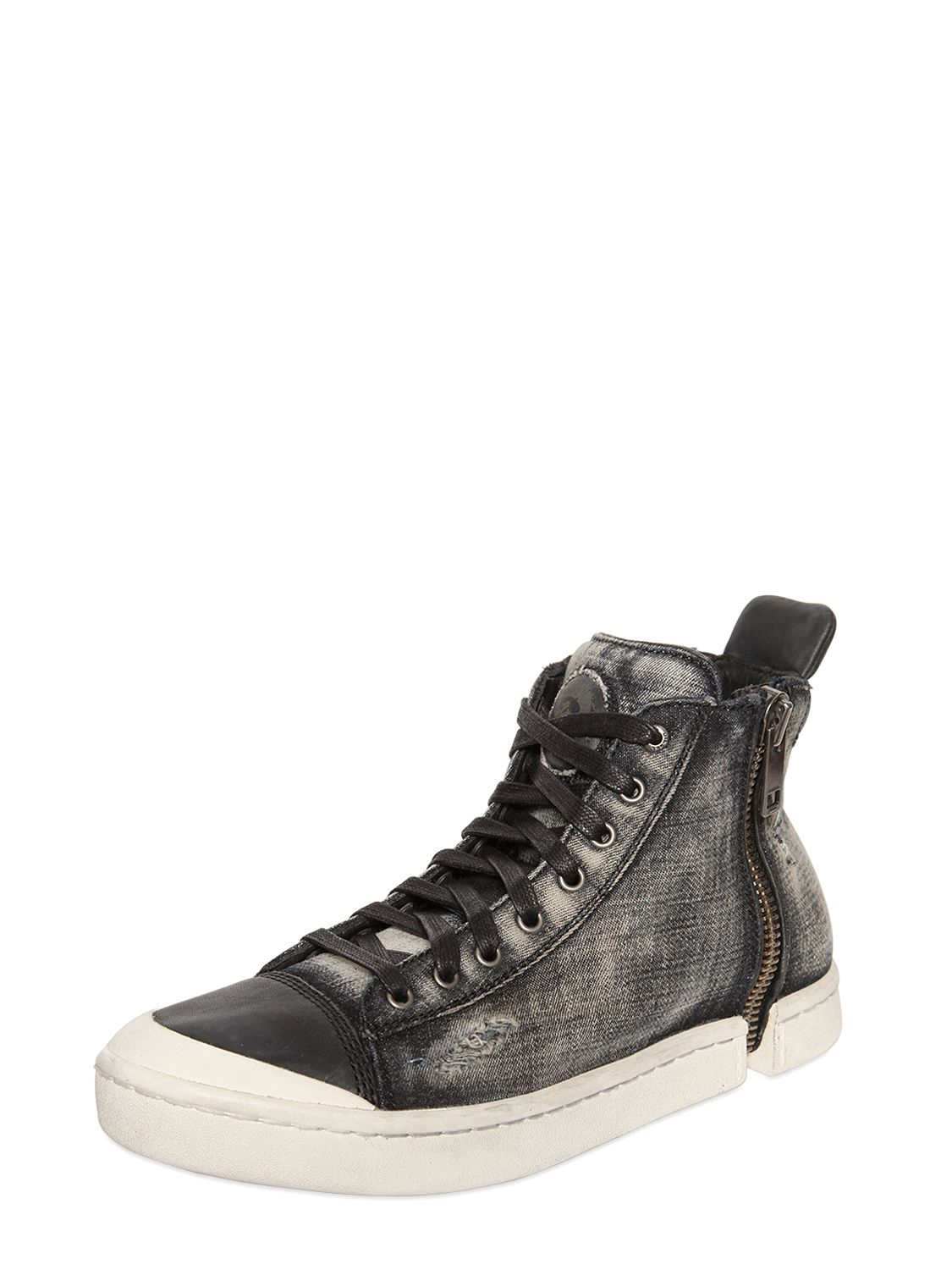 Diesel Snentish Zip Around Denim Sneakers In Grey Gray