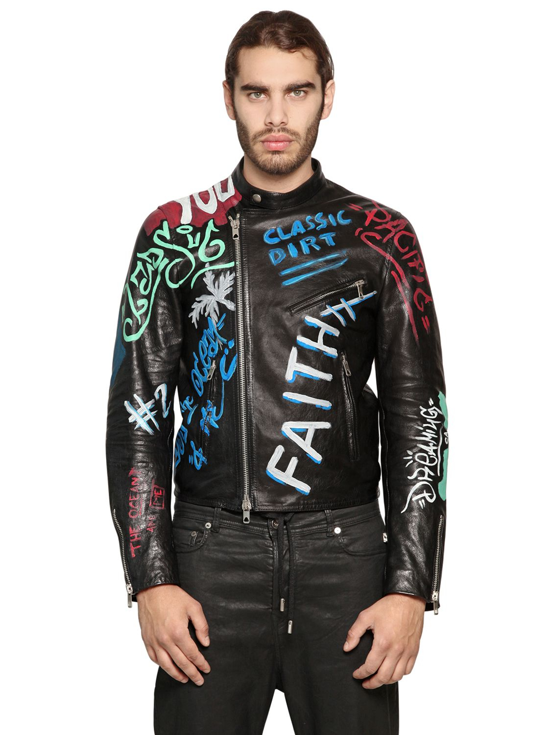 Lyst Diesel Black Gold Graffiti Painted Smooth Leather