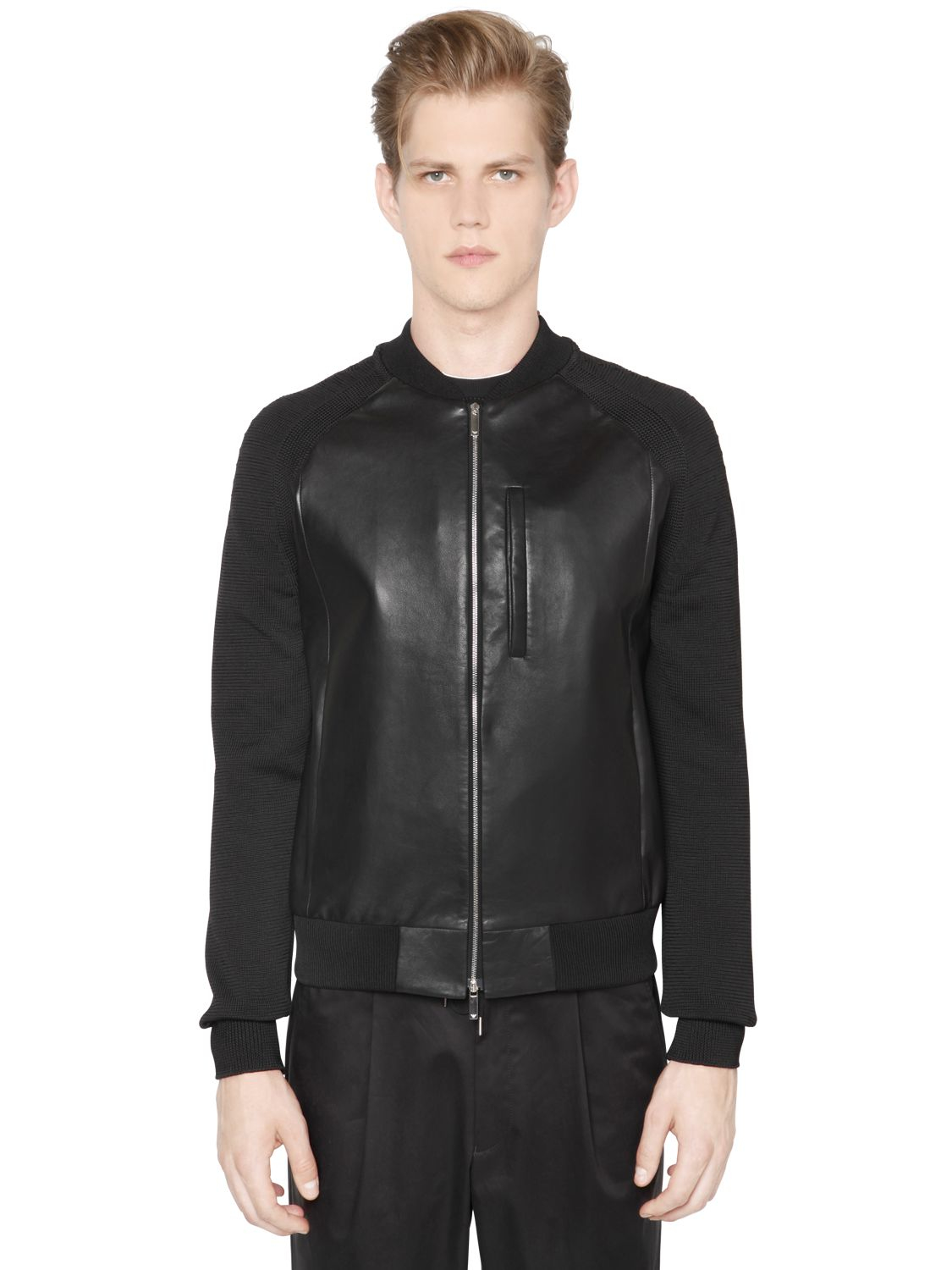 emporio armani nappa leather jacket with knit sleeves in black for men lyst. Black Bedroom Furniture Sets. Home Design Ideas