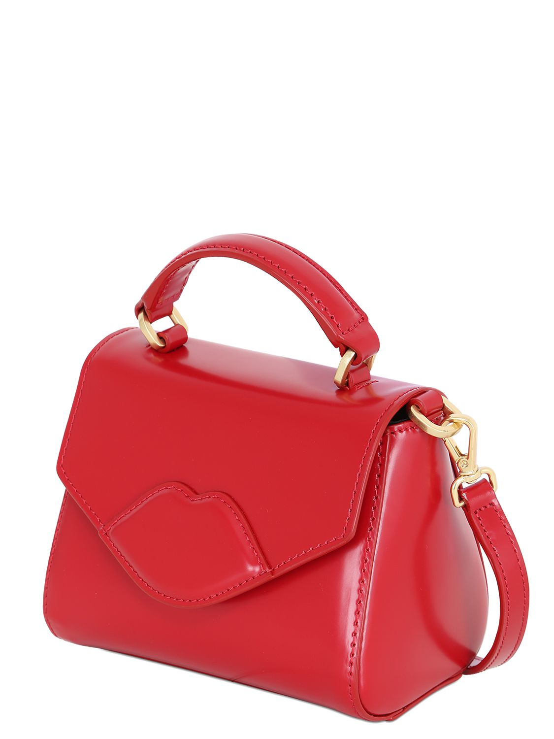 4094573b10 Lyst - Lulu Guinness Mini Izzy Polished Leather Shoulder Bag in Red
