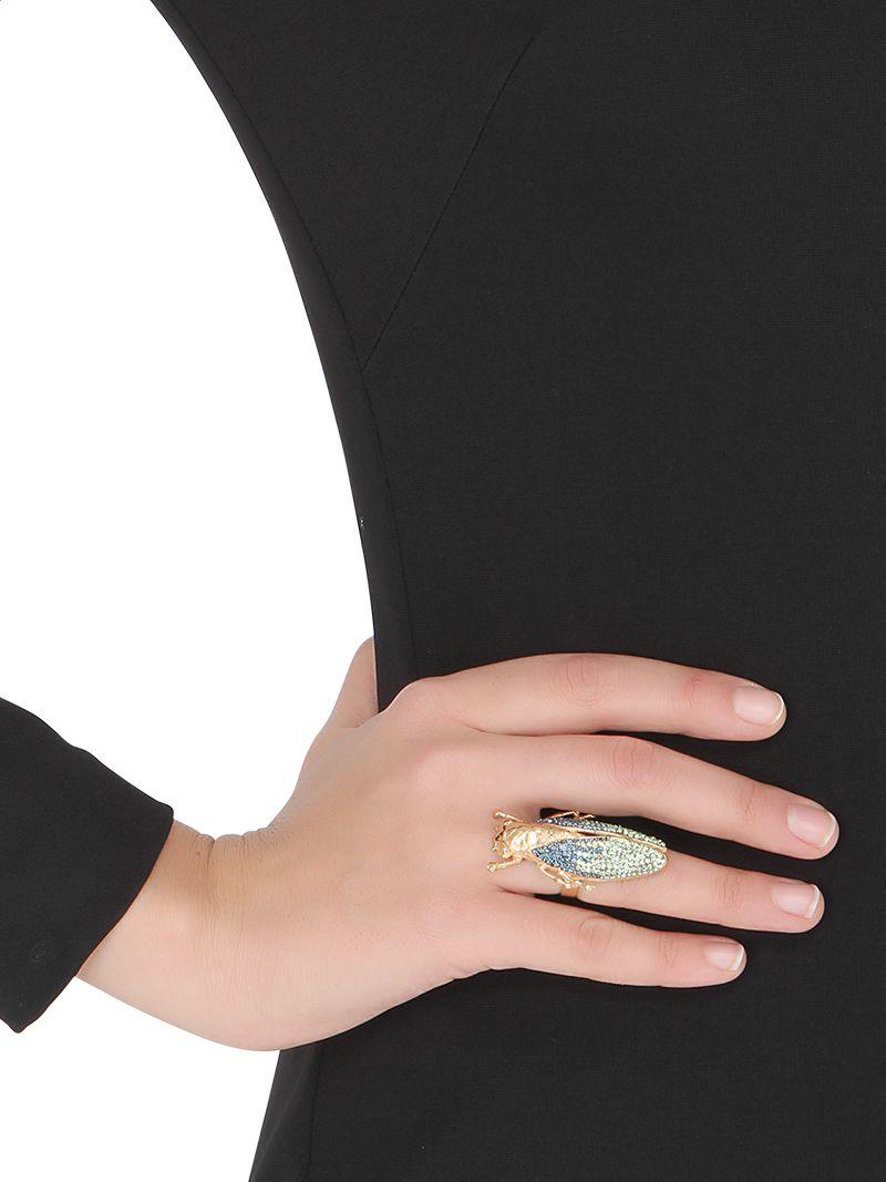 Vernissage Jewellery Swarovski Crystals Imperial Moth Ring in Metallic