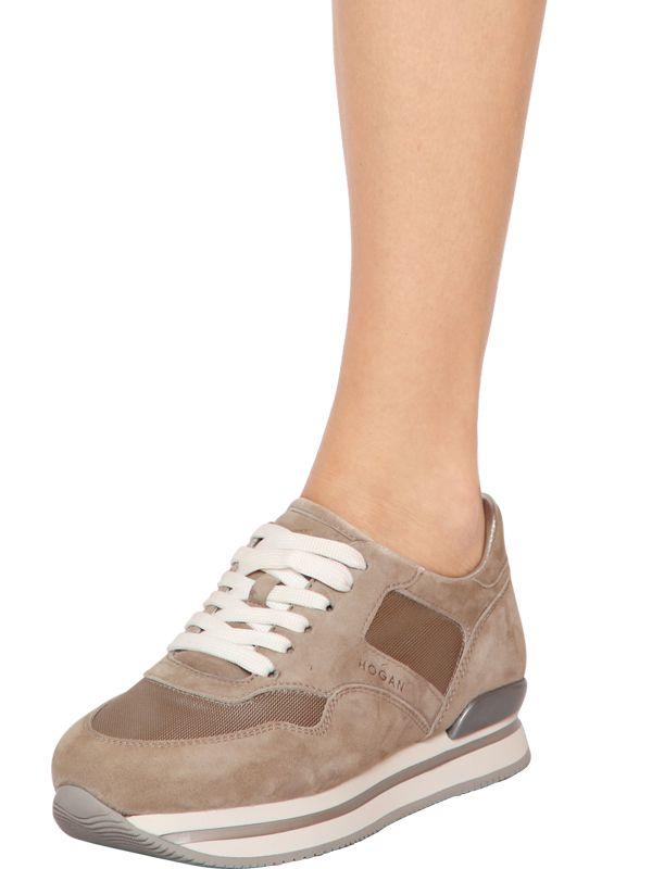 Hogan 50mm H22 Suede & Nylon Sneakers in Beige (Natural) - Lyst