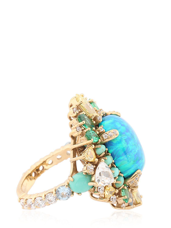Anabela Chan Opal Poseidon Gold Ring in Blue
