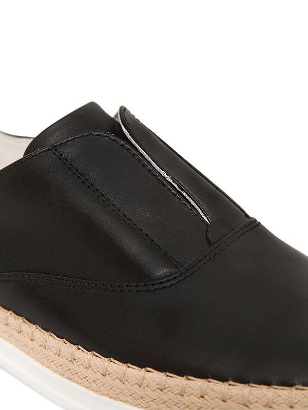 Tod's 20mm Leather & Raffia Slip-on Sneakers in Black