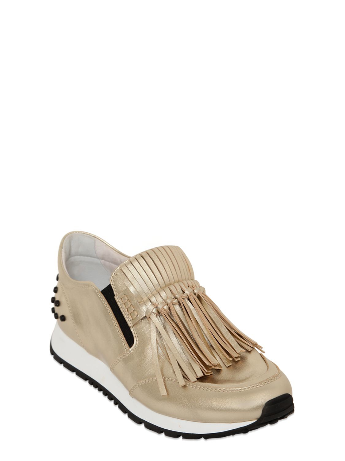 Tod's 20mm Fringed Metallic Leather Sneakers