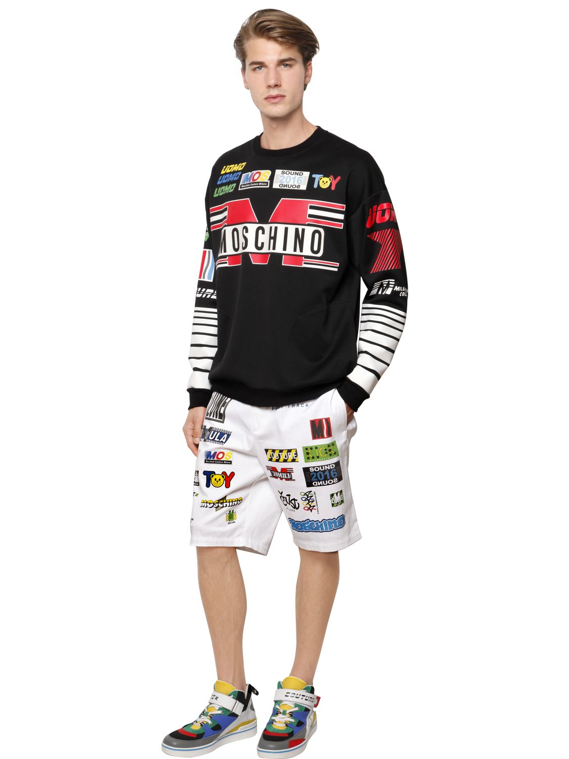 Moschino Cycling Printed Techno Sweatshirt in Black for Men
