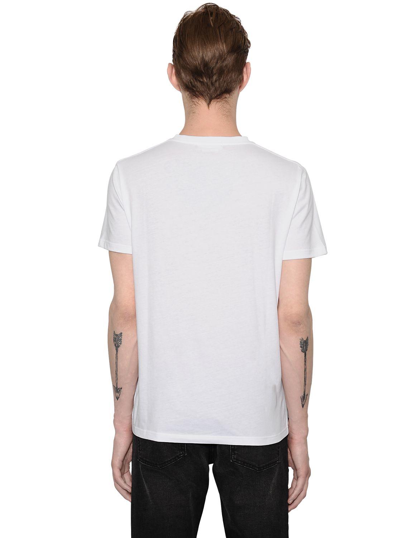 Alexander mcqueen printed organic cotton v neck t shirt in for Organic cotton t shirt printing