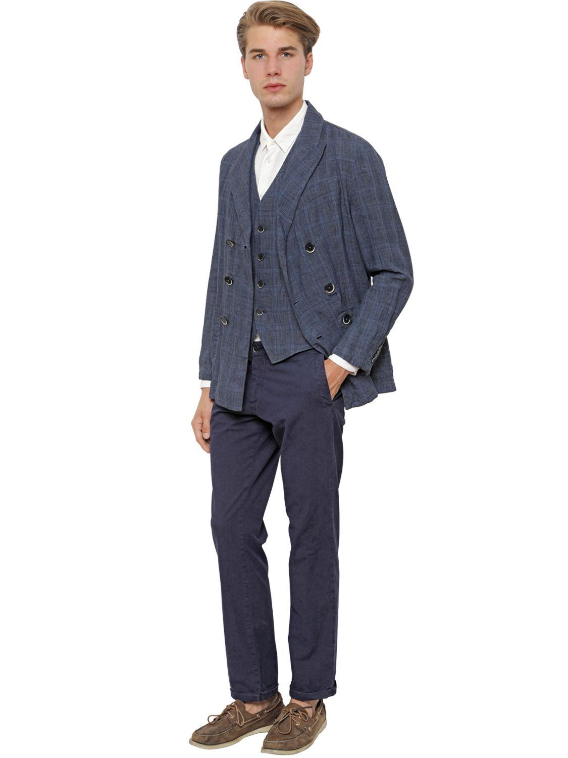 Barena Linen Double Breasted Prince Of Wales Jacket in Blue for Men