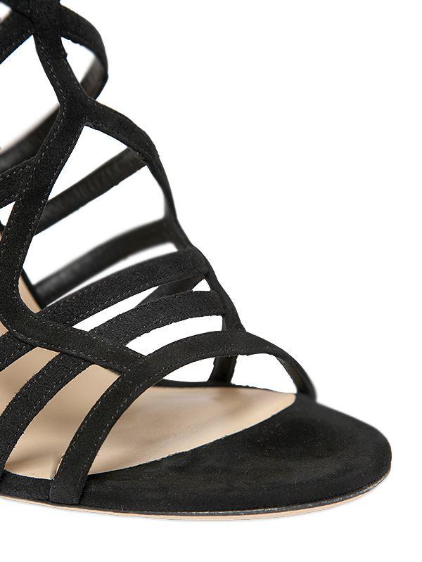 Tamara Mellon 105mm Venus Suede Cage Boots in Black