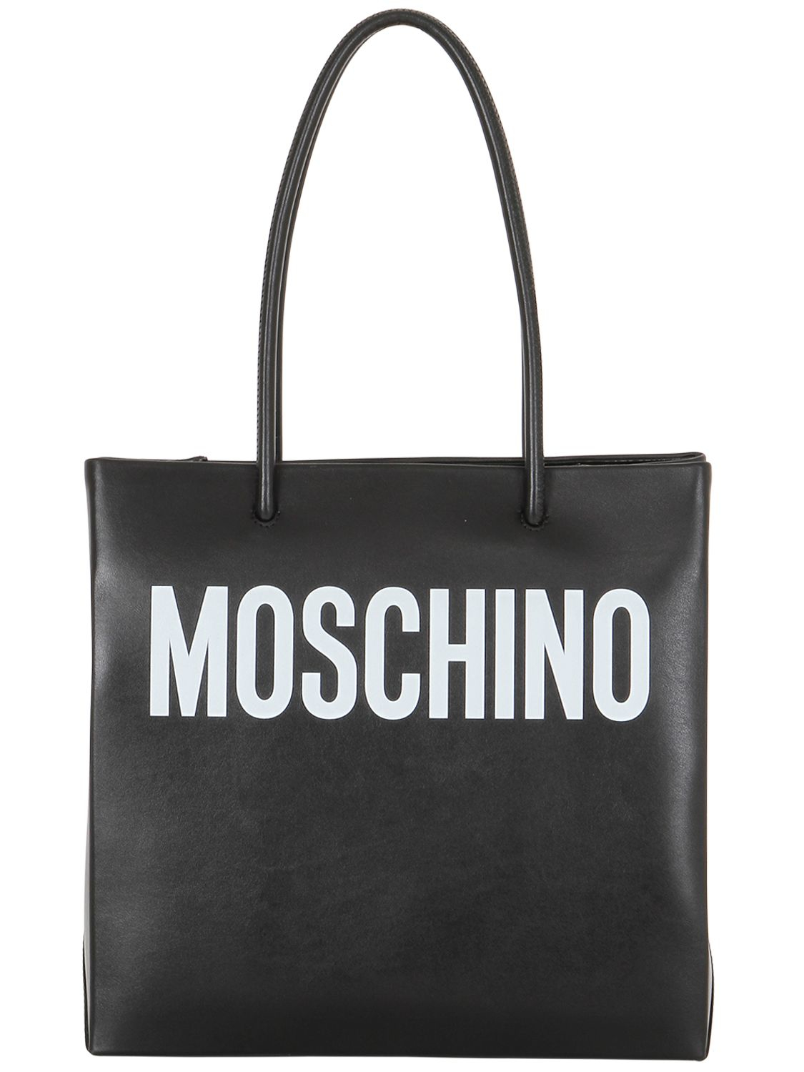 moschino logo shopping nappa leather tote in black lyst. Black Bedroom Furniture Sets. Home Design Ideas
