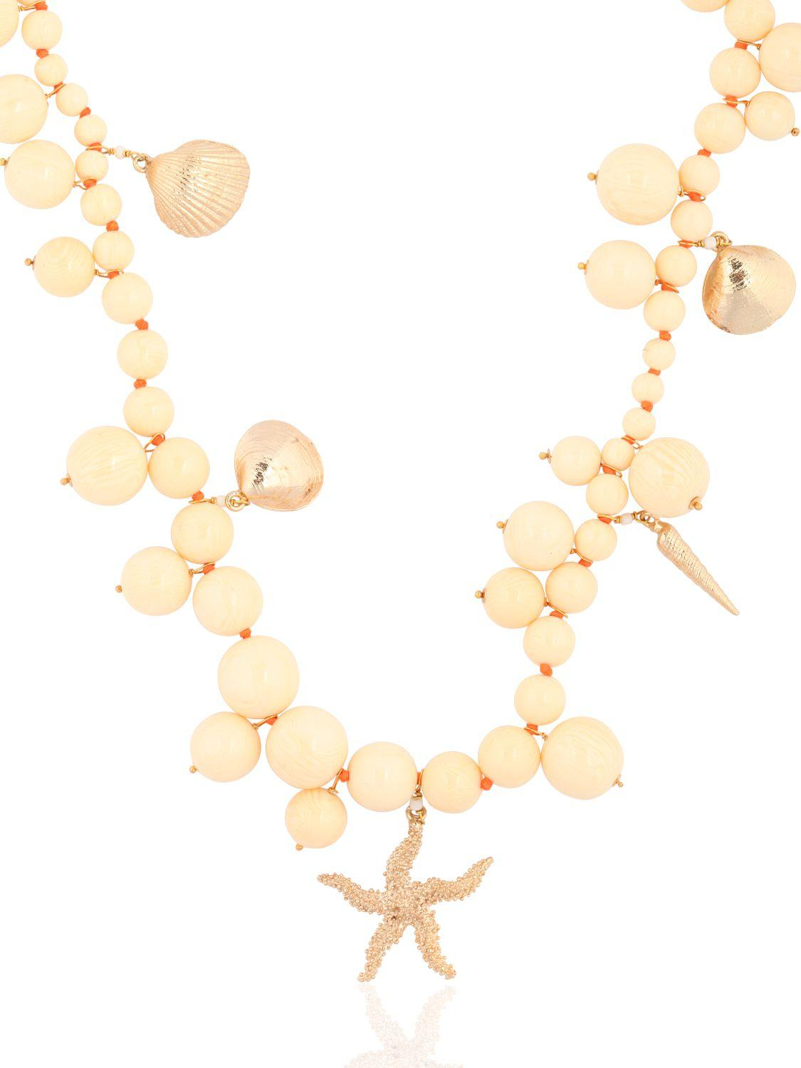 Rosantica Spiaggia Beaded Necklace With Charms in Ivory (Metallic)