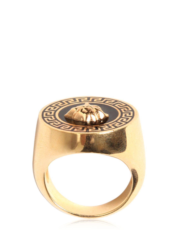 Versace Medusa Enameled Ring In Gold Black Metallic For