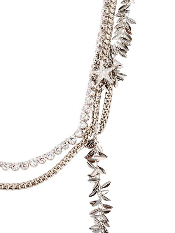 Venna Swarovski & Multi Chain Necklace in Silver (Metallic)