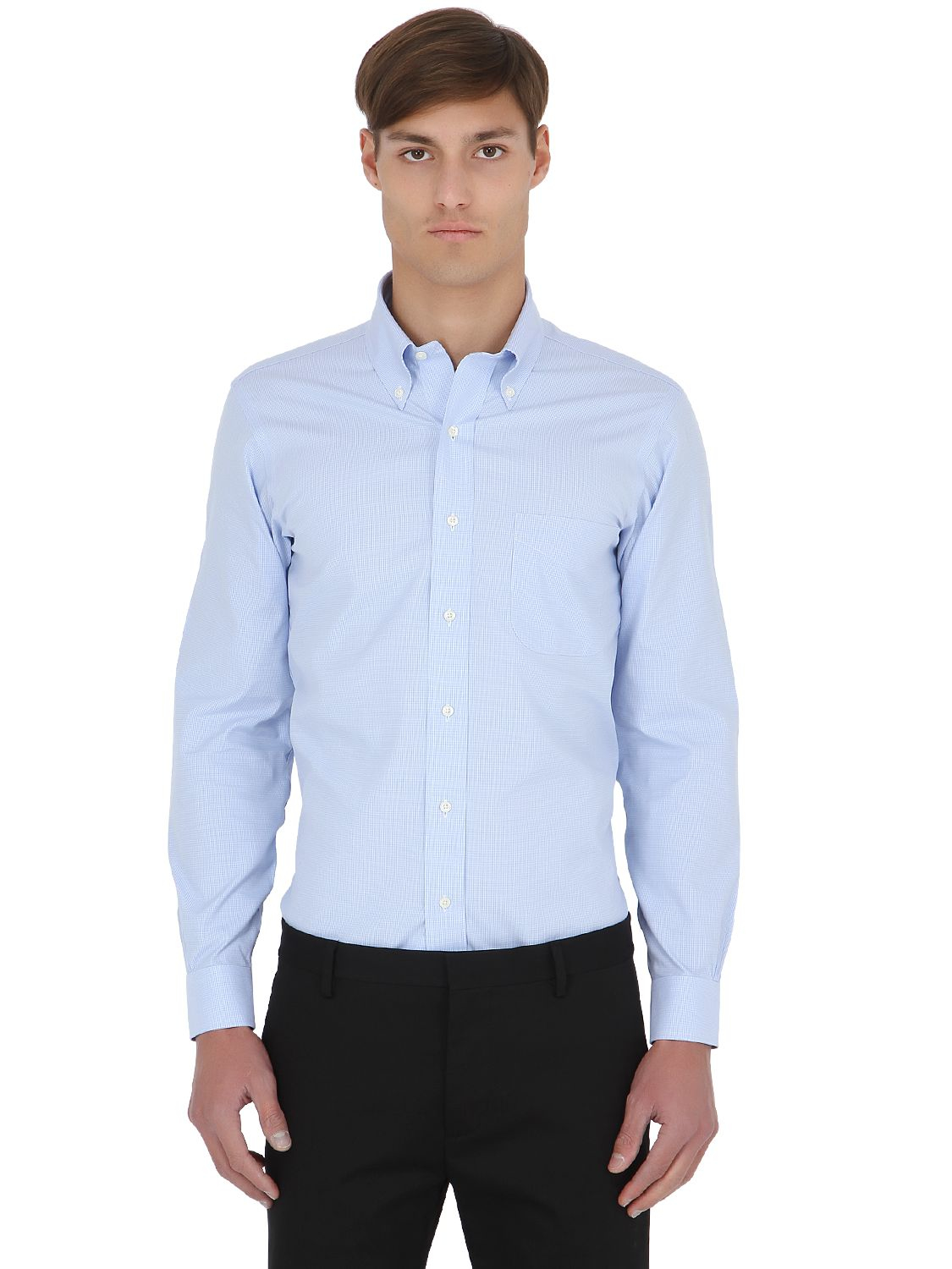 Lyst brooks brothers extra slim button down cotton shirt for Slim button down shirt