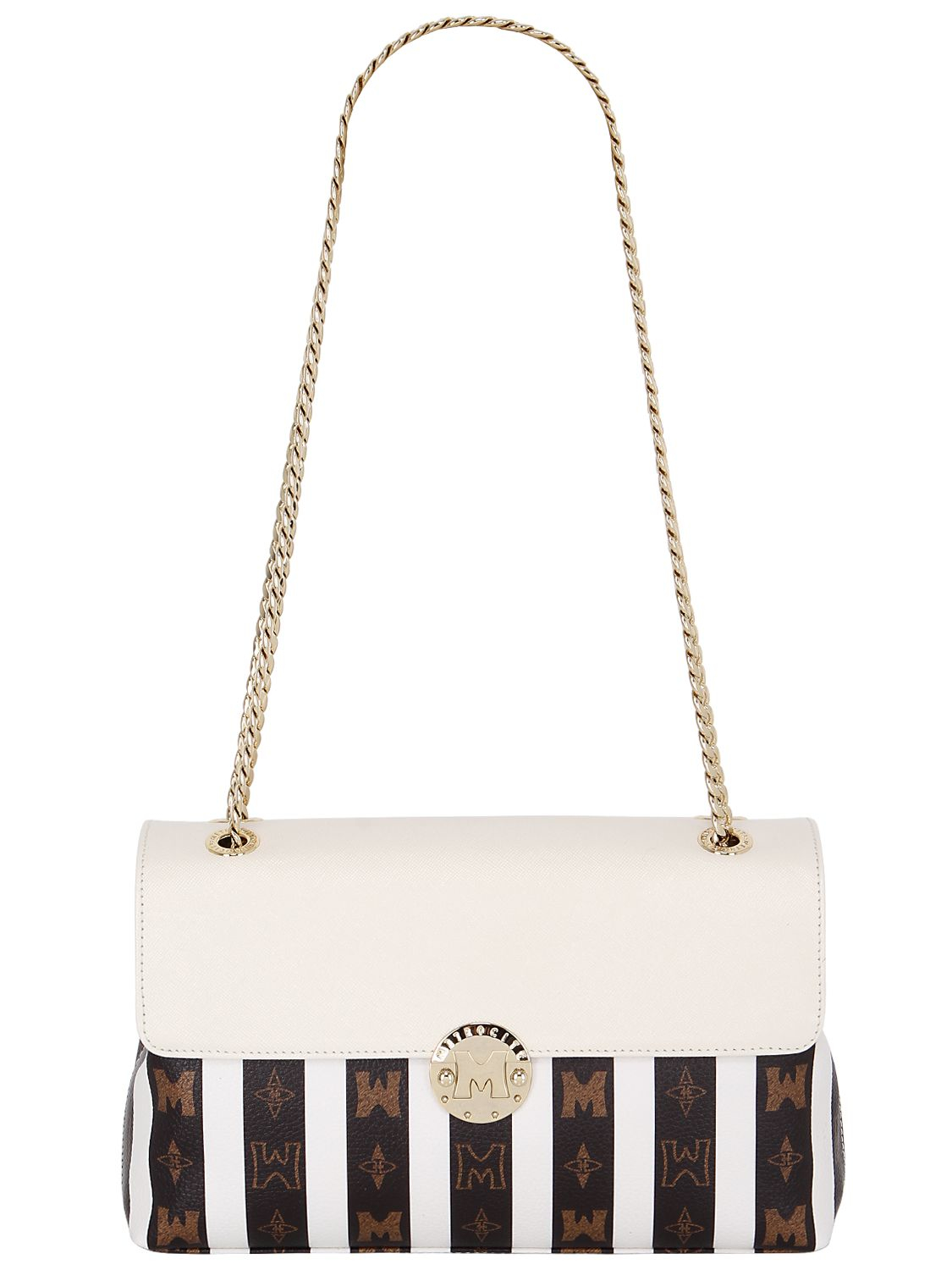 1aed82ea6e Metrocity Striped Pvc Shoulder Bag W/leather in White - Lyst