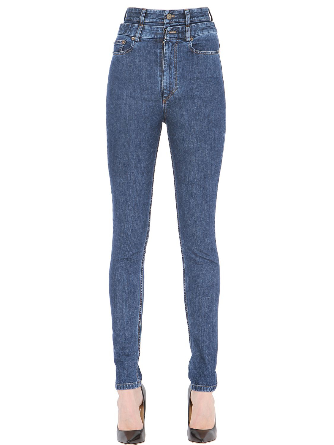 Y. project Skinny High Waisted Cotton Denim Jeans in Blue | Lyst