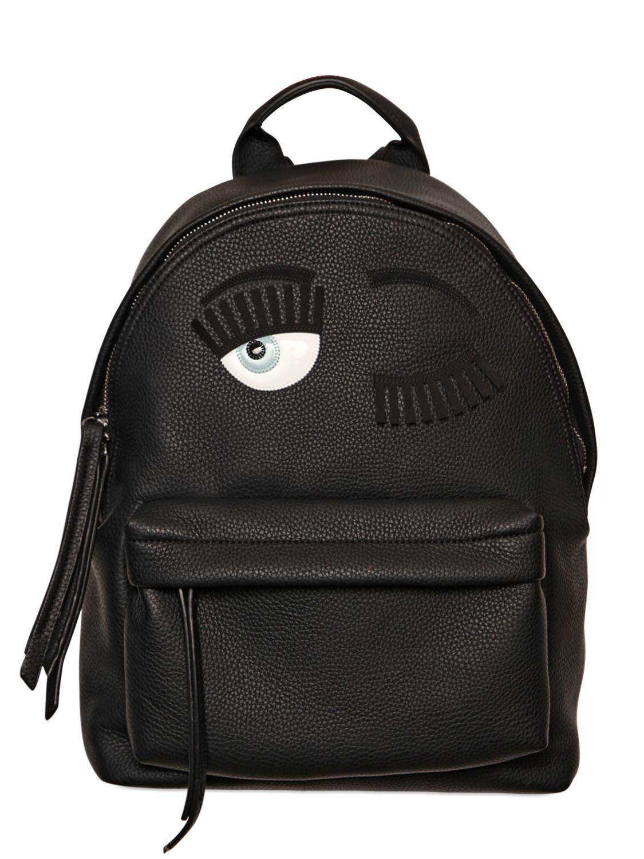 Lyst Chiara Ferragni Flirting Faux Leather Backpack In Black