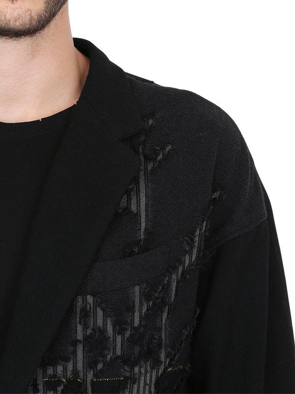 Yohji Yamamoto Destroyed Macro Check Wool Jacket in Black for Men