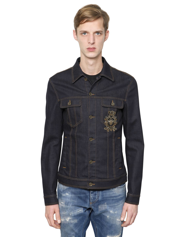 Dolce Amp Gabbana Embroidered Stretch Denim Jacket In Black