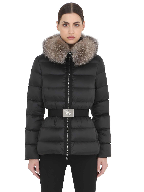 Moncler Synthetic Tatie Nylon Satin Down Jacket in Black ...