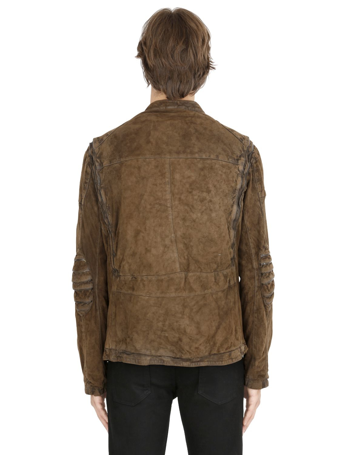 Giorgio Brato Vintage Washed Reversed Leather Jacket in Brown for Men