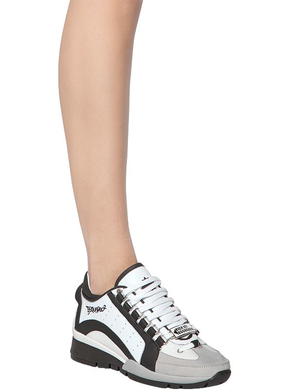 DSquared² 30mm Two Tone Leather Sneakers in White/Black (White)
