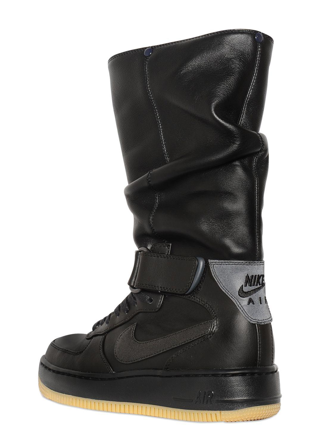 Nike Upstep Warrior Leather Sneaker Boots In Black For Men