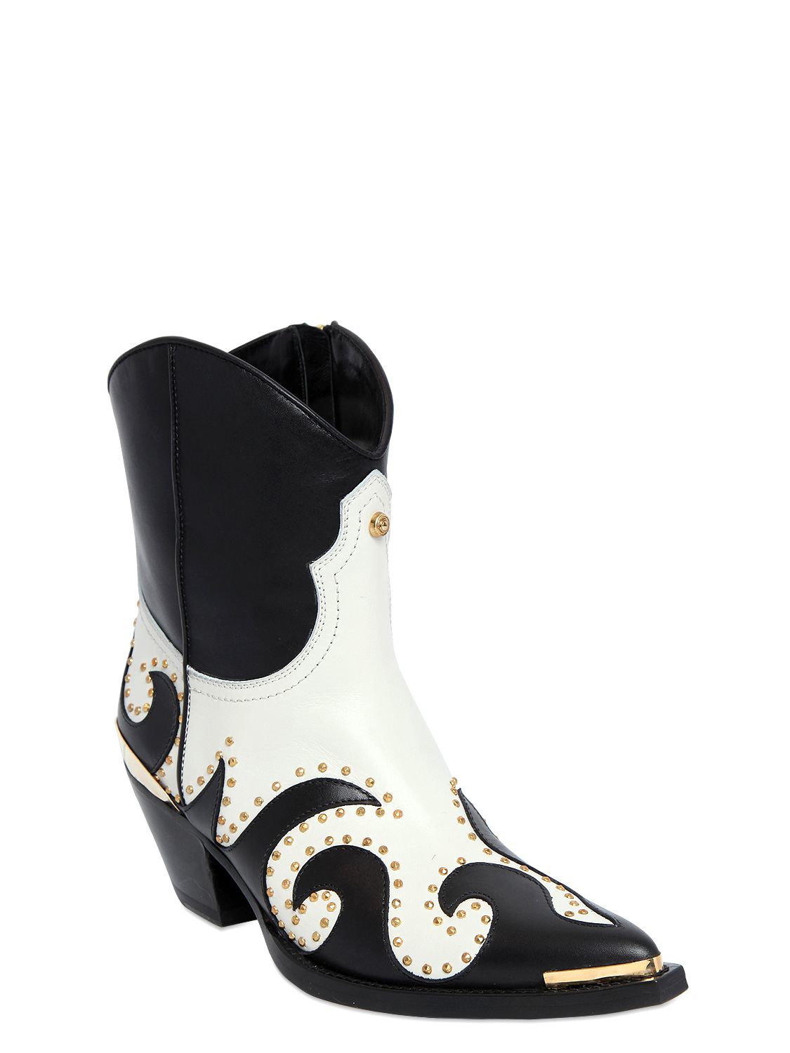 Fausto Puglisi 55mm Studded Leather Cowboy Boots in Black/White (White)