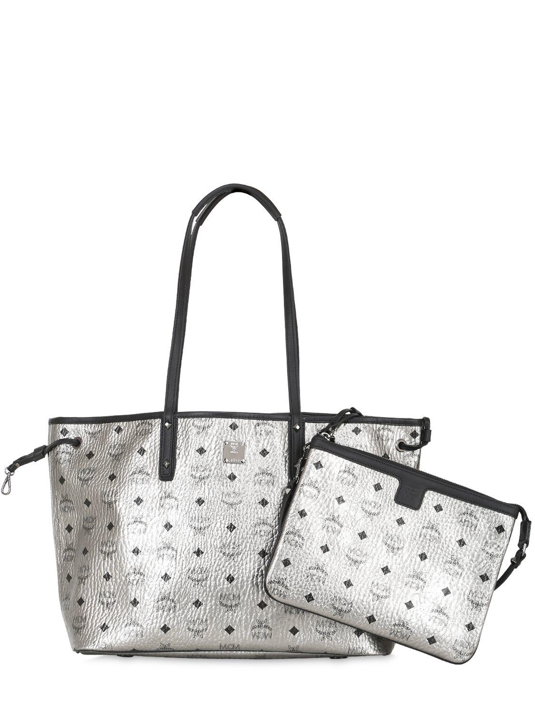 MCM Shopper Project Visetos Reversible Tote Bag in Silver (Metallic)
