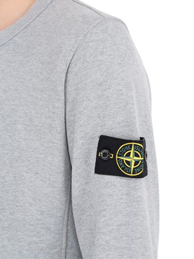 Stone Island Wool Cotton Knit Sweater With Logo Detail in Grey for Men