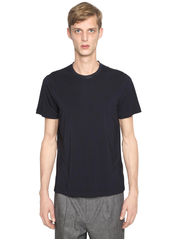 giorgio armani stretch viscose jersey tshirt in black for