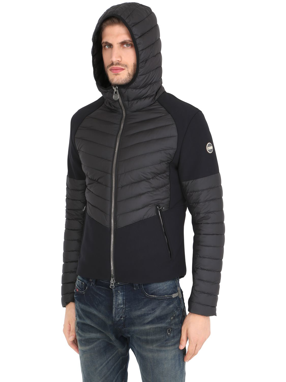 Colmar Synthetic Hooded Nylon & Scuba Down Jacket in Black for Men