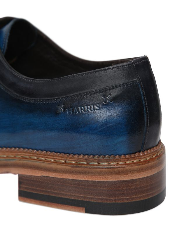 Harris Stitched & Brushed Leather Derby Shoes in Blue for Men