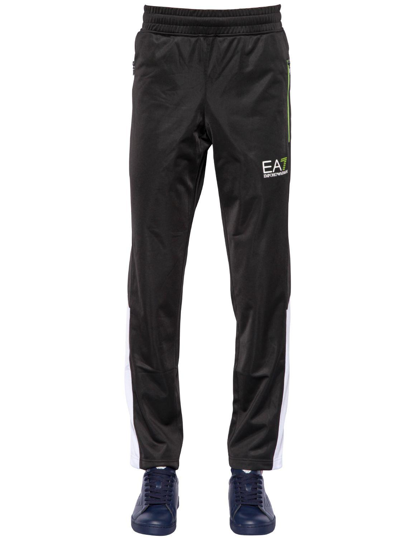 EA7 Cotton Logo Printed Nylon Tennis Tracksuit in Black for Men