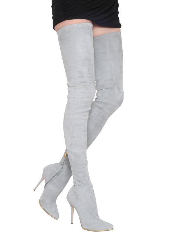 0cb60b869e02a Lyst - Balmain 110mm Catherine Stretch Suede Boots in Gray