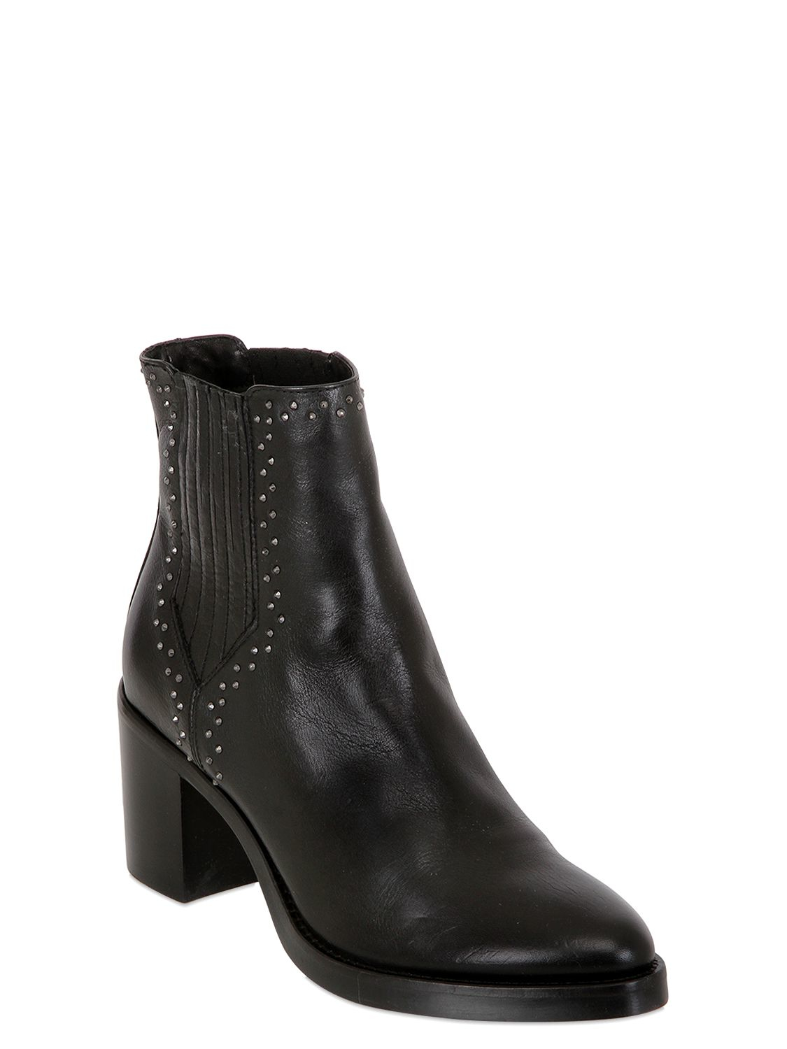 Lyst Janet Amp Janet 70mm Studded Leather Ankle Boots In Black