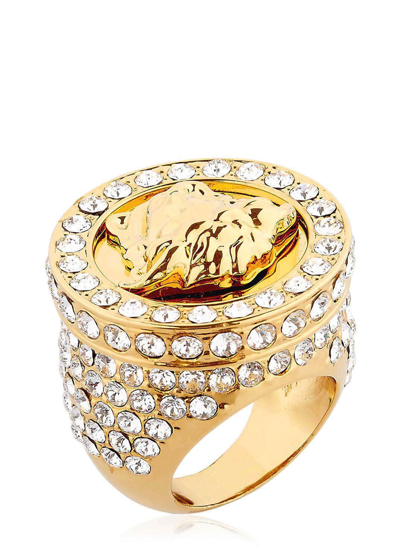 Lyst Versace Medusa Ring With Swarovski Crystals In Metallic