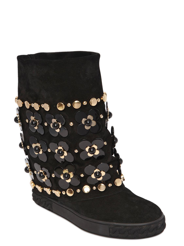 6128576ed5c Casadei 90mm Flowers Suede Wedge Sneakers in Black - Lyst